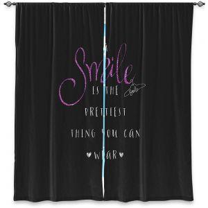 Decorative Window Treatments | Zara Martina - A Smile Pink Sparkle Black | Inspiring Typography Lady Like