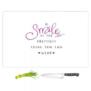Artistic Kitchen Bar Cutting Boards | Zara Martina - A Smile Pink Sparkle | Inspiring Typography Lady Like