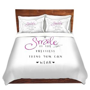 Artistic Duvet Covers and Shams Bedding | Zara Martina - A Smile Pink Sparkle | Inspiring Typography Lady Like