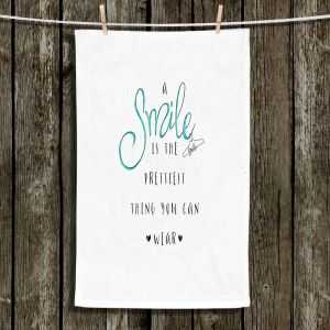 Unique Hanging Tea Towels | Zara Martina - A Smile Turquoise | Inspiring Typography Lady Like