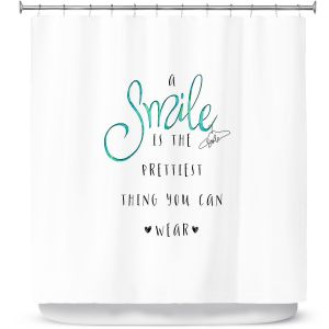 Premium Shower Curtains | Zara Martina - A Smile Turquoise | Inspiring Typography Lady Like