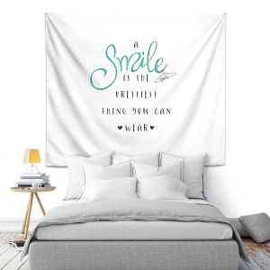 Artistic Wall Tapestry   Zara Martina - A Smile Turquoise   Inspiring Typography Lady Like