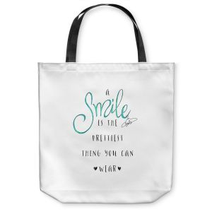 Unique Shoulder Bag Tote Bags | Zara Martina - A Smile Turquoise | Inspiring Typography Lady Like