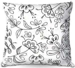Decorative Outdoor Patio Pillow Cushion | Zara Martina - Band With Flora