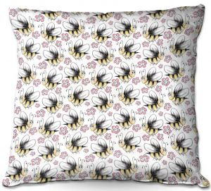Decorative Outdoor Patio Pillow Cushion | Zara Martina - Bee Crazy | insect bug pattern critter