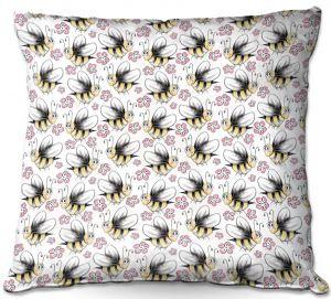 Decorative Outdoor Patio Pillow Cushion | Zara Martina - Bee Crazy | insect bug pattern critter