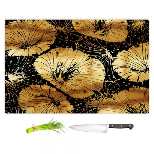 Artistic Kitchen Bar Cutting Boards | Zara Martina - Black Gold Flowers | floral pattern
