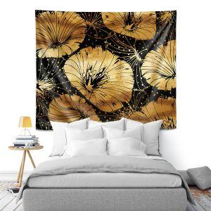 Artistic Wall Tapestry | Zara Martina - Black Gold Flowers | floral pattern