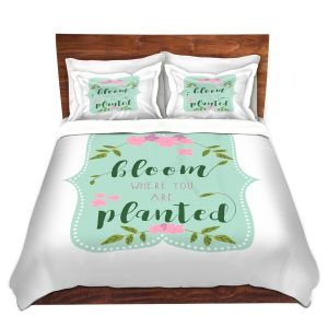Artistic Duvet Covers and Shams Bedding | Zara Martina - Bloom Where U are Planted l | Inspiring Typography Lady Like