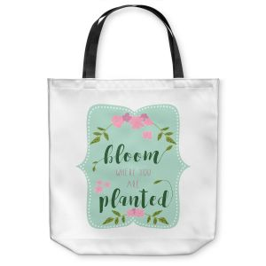 Unique Shoulder Bag Tote Bags | Zara Martina - Bloom Where U are Planted l | Inspiring Typography Lady Like