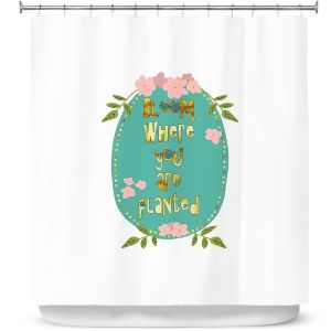 Premium Shower Curtains | Zara Martina - Bloom Where U are Planted ll | Inspiring Typography Lady Like