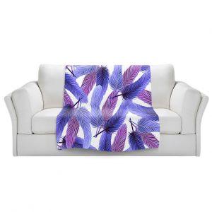 Artistic Sherpa Pile Blankets | Zara Martina - Blue Feathered | bird feather pattern