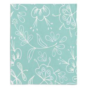 Decorative Fleece Throw Blankets | Zara Martina - Blue Flora Mix