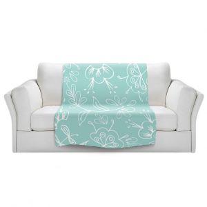 Artistic Sherpa Pile Blankets   Zara Martina - Blue Flora Mix