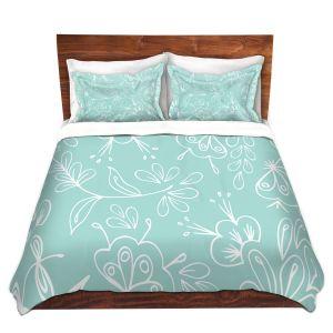 Artistic Duvet Covers and Shams Bedding   Zara Martina - Blue Flora Mix