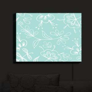 Nightlight Sconce Canvas Light | Zara Martina - Blue Flora Mix | Flowers Patterns