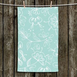 Unique Hanging Tea Towels | Zara Martina - Blue Flora Mix | Flowers Patterns