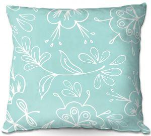 Throw Pillows Decorative Artistic | Zara Martina - Blue Flora Mix