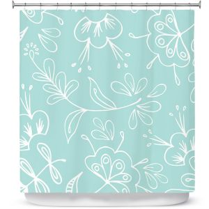 Premium Shower Curtains | Zara Martina - Blue Flora Mix