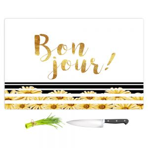 Artistic Kitchen Bar Cutting Boards | Zara Martina - Bon Jour Floral Gold | Inspiring Typography Lady Like
