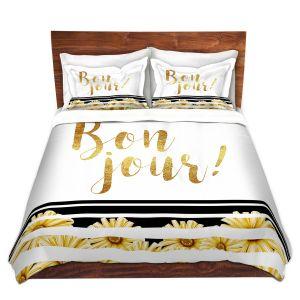Artistic Duvet Covers and Shams Bedding   Zara Martina - Bon Jour Floral Gold   Inspiring Typography Lady Like
