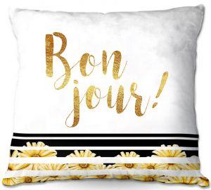 Throw Pillows Decorative Artistic | Zara Martina - Bon Jour Floral Gold | Inspiring Typography Lady Like