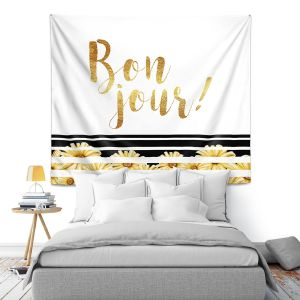 Artistic Wall Tapestry | Zara Martina - Bon Jour Floral Gold | Inspiring Typography Lady Like
