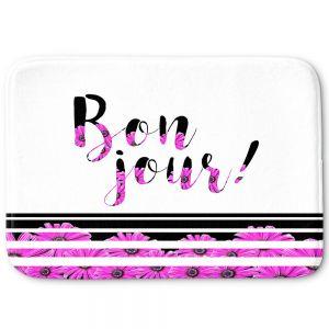 Decorative Bathroom Mats | Zara Martina - Bon Jour Floral Purple | Inspiring Typography Lady Like