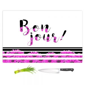 Artistic Kitchen Bar Cutting Boards | Zara Martina - Bon Jour Floral Purple | Inspiring Typography Lady Like