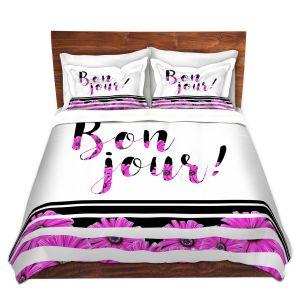 Artistic Duvet Covers and Shams Bedding | Zara Martina - Bon Jour Floral Purple | Inspiring Typography Lady Like