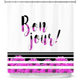 Premium Shower Curtains | Zara Martina - Bon Jour Floral Purple | Inspiring Typography Lady Like