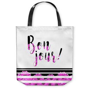 Unique Shoulder Bag Tote Bags | Zara Martina - Bon Jour Floral Purple | Inspiring Typography Lady Like