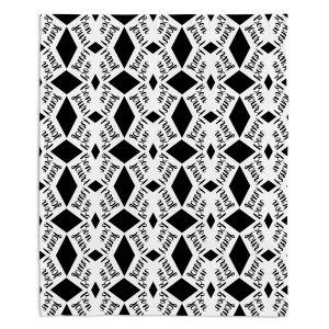 Artistic Sherpa Pile Blankets | Zara Martina - Bonjour Pattern Black White