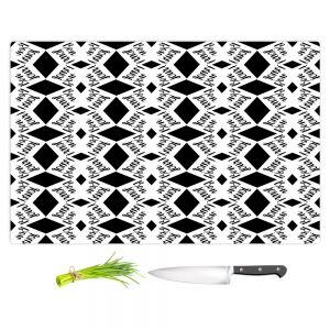Artistic Kitchen Bar Cutting Boards | Zara Martina - Bonjour Pattern Black White