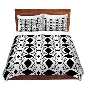 Artistic Duvet Covers and Shams Bedding   Zara Martina - Bonjour Pattern Black White