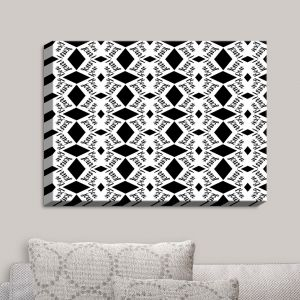 Decorative Canvas Wall Art | Zara Martina - Bonjour Pattern Black White | Bonjour Patterns