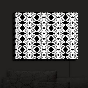 Nightlight Sconce Canvas Light | Zara Martina - Bonjour Pattern Black White | Bonjour Patterns