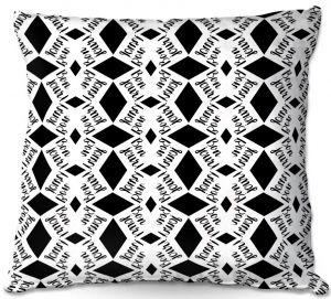 Throw Pillows Decorative Artistic | Zara Martina - Bonjour Pattern Black White