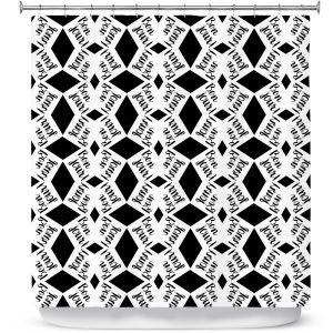 Premium Shower Curtains | Zara Martina - Bonjour Pattern Black White