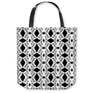 Unique Shoulder Bag Tote Bags |Zara Martina - Bonjour Pattern Black White