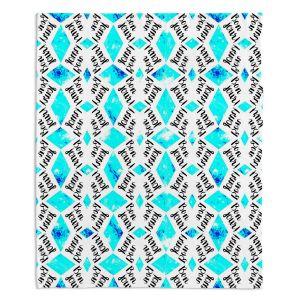 Artistic Sherpa Pile Blankets | Zara Martina - Bonjour Pattern Blue