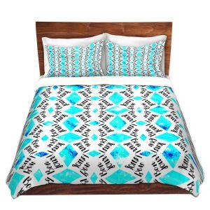 Artistic Duvet Covers and Shams Bedding   Zara Martina - Bonjour Pattern Blue