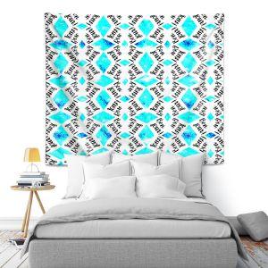 Artistic Wall Tapestry   Zara Martina - Bonjour Pattern Blue