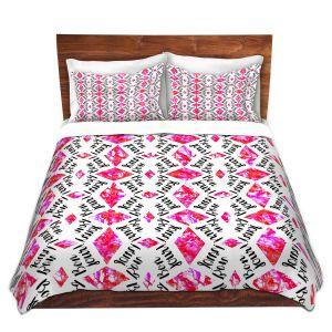 Artistic Duvet Covers and Shams Bedding   Zara Martina - Bonjour Pattern Pink
