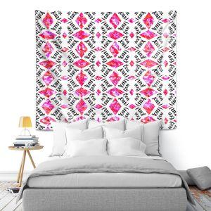 Artistic Wall Tapestry   Zara Martina - Bonjour Pattern Pink
