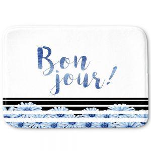 Decorative Bathroom Mats   Zara Martina - Bonjour Typography Blue