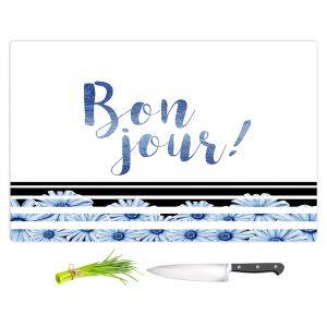 Artistic Kitchen Bar Cutting Boards | Zara Martina - Bonjour Typography Blue