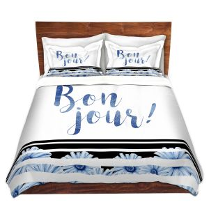 Artistic Duvet Covers and Shams Bedding   Zara Martina - Bonjour Typography Blue