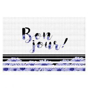 Decorative Floor Coverings | Zara Martina - Bonjour Typography Blue Floral