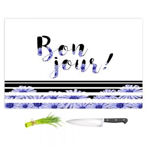 Artistic Kitchen Bar Cutting Boards | Zara Martina - Bonjour Typography Blue Floral